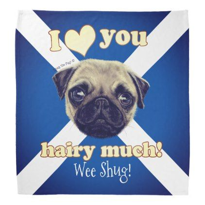 Personalized Shug The Scottish Pug Bandana Dog Puppy Dogs Doggy