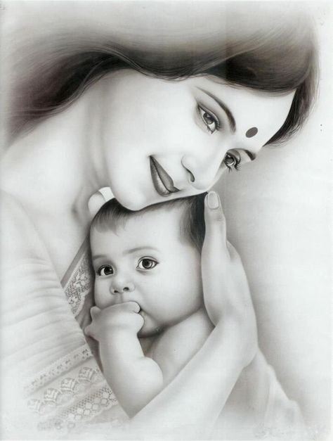 40 Simple Pencil Mother and Child Drawings