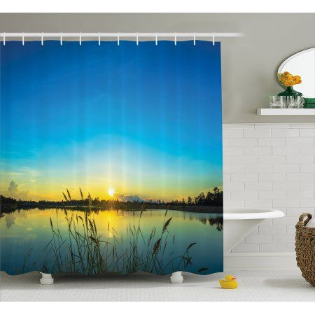 Lake Shower Curtain Sun Rising In Blue Sky Quiet Outdoors With
