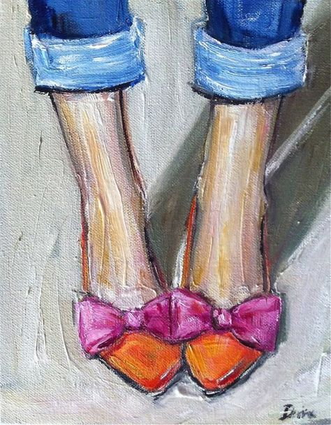 Pink Orange Shoes Oil Painting by DevinePaintings on Etsy, $88.00