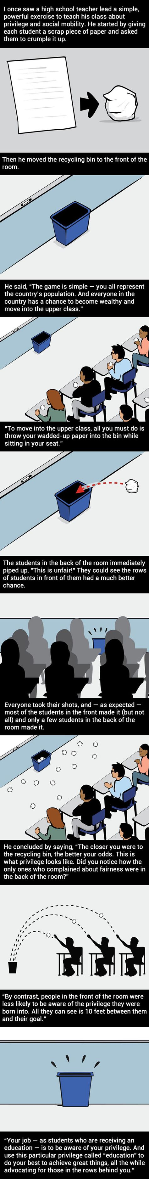 Jessica Benjamin- This Teacher Taught His Class A Powerful Lesson About Privilege. I think this is a great lesson for older grades but maybe you could use it in middle schools as well. I think its a powerful lesson that would really impact students. Tricky Games, Faith In Humanity Restored, 9gag Funny, School Counseling, Future Classroom, Social Work, Social Class, Social Issues, Classroom Management
