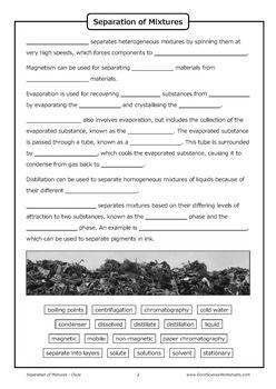 Separation Of Mixtures Cloze Worksheet Worksheets Online