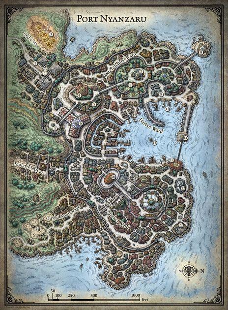 Tomb of Annihilation; Port Nyanzaru 5E Digital $2 Fantasy city map Dnd world map Fantasy map