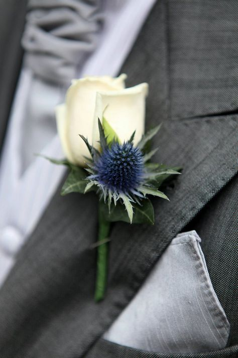 Navy and white boutonniere made of a white rose and eringium.