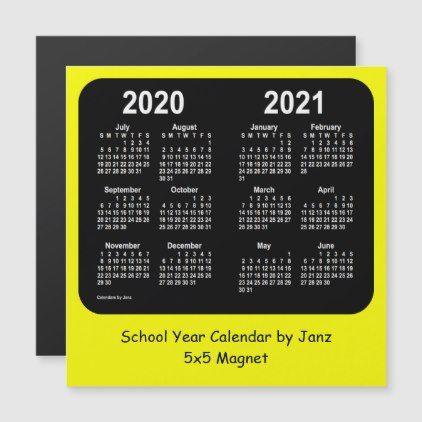 2020 2021 Yellow Neon School Year Calendar By Janz Zazzle Com