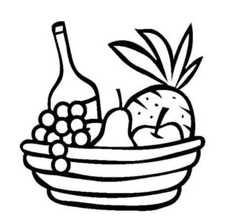 Pineapple And Other Fruit In The Basket Coloring Page