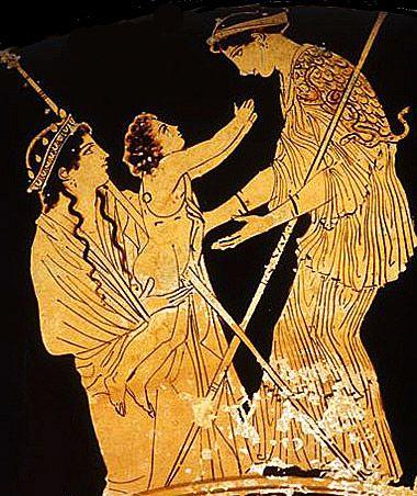 Attribue Au Peintre De Codros Athena Recoit Le Bebe Erichthonios Kylix Attique A Figures Rouges Trouvee A Tarquinia Ve Athena Les Mythes Mythologie Grecque