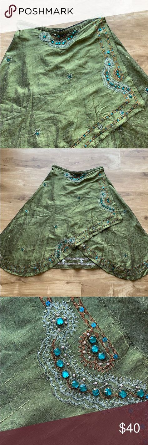 Olive Sari Skirt Indian Pakistani Style Gorgeous olive skirt I purchased a few y...   - My Posh Picks - #Gorgeous #Indian #Olive #Pakistani #Picks #Posh #purchased #Sari #skirt #Style