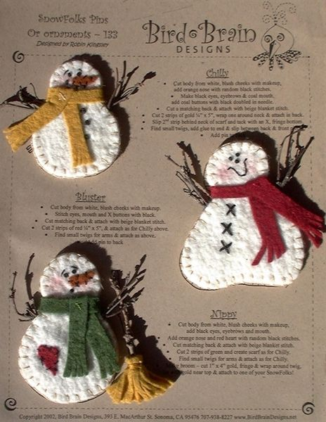 Three Chilly Wool Applique Snowfolks Sport Real Twig Arms But Look Cute Without Them Too These Felt Christmas Ornaments Felt Christmas Decorations Xmas Crafts