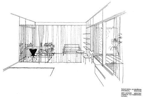 arne jacobsen atrium house original plans living room - die vorgefertigten wohnmodule odda erlauben odda