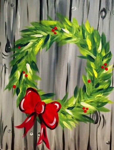 christmas paintings #christmas Wreath (christmas paintings kids),  #Christmas #Kids #Paintings #Winterbilderleinwand #Wreath