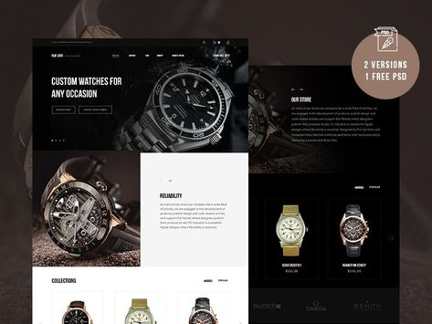 Free Watches Website Template by Andy Khan on Dribbble