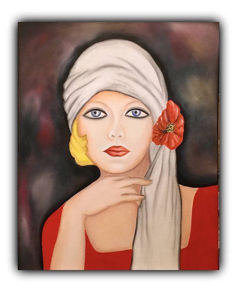 Portrait acrylic painting on canvas wall decor abstract art Christmas gift home decor
