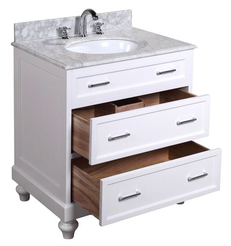 Amelia 30-inch Bathroom Vanity (Carrara/White): Includes a White Cabinet, Soft Close Drawers, a Natural Italian Carrara Marble Countertop, and a Ceramic Sink - - Amazon.com