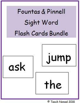 This Bundle Includes Sight Word Flash Cards That Align With Fountas Amp Amp Pinnell F Amp Amp P High F Sight Word Flashcards Sight Words Sight Words List