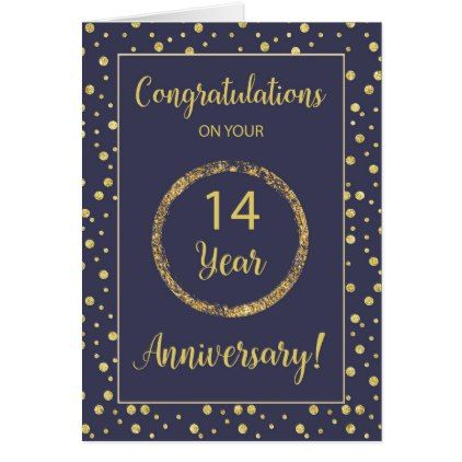 Fourteen Years Business Anniversary Navy And Gold Card Zazzle Com Work Anniversary Cards Work Anniversary Employee Anniversary Cards