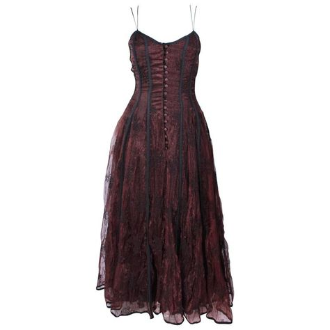 For Sale on - This Kaat Tilly gown is composed of a brown crinkled lace and features a black trim. Corset style with center front button closures. In excellent vintage Pretty Dresses, Beautiful Dresses, Dress Skirt, Dress Up, Dress Lace, Piercings, Evening Dresses, Prom Dresses, Lace Corset