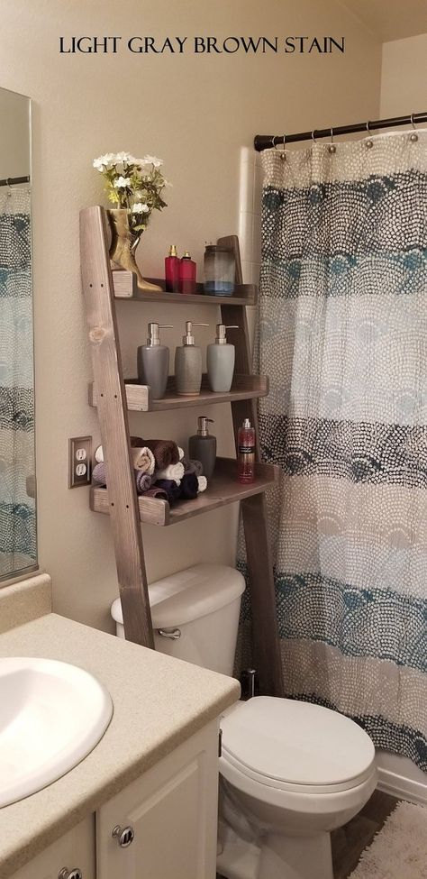 Over The Toilet Leaning Ladder Shelf