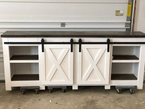 Modern Farmhouse Style Media Console Buffet Table Media Console Barn Door Slider Sideboard For Dining Room With Images Barn Door Console Barn Door Sliders