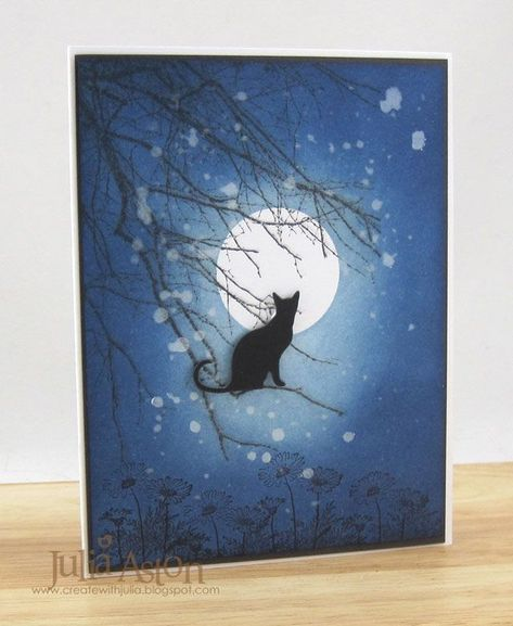 handmade greeeting card: IC515 Cat and the Full Moon by artystamper ... one layer ... sponged sky with masked moon ... great card!