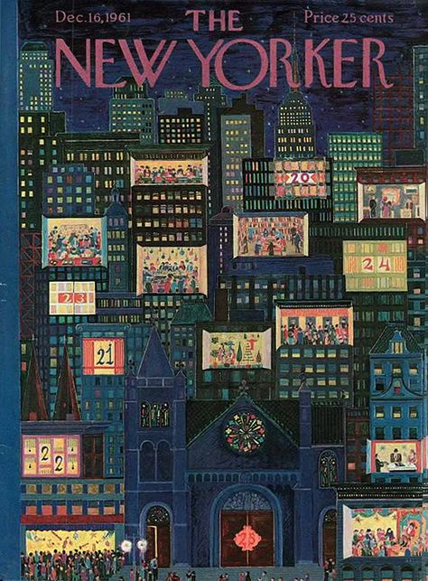 The New Yorker Cover ~ December 1961 The New Yorker, New Yorker Covers, Old Magazines, Vintage Magazines, Vogue Vintage, Christmas Cover, Vintage Christmas, Merry Christmas, Vintage Illustration Art