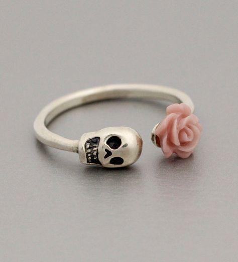 Adjustable Pink Flowered Skull Ring in 925 Sterling Silver
