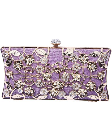 Purple Metallic Magnetic Diamond Flowers Clutch Bag