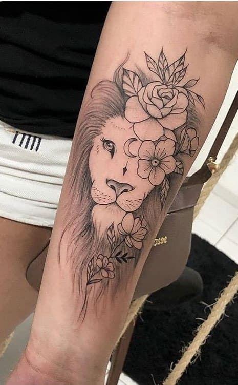tatuagem feminina leao com flores braço | Tatuagem, Tatuagens, Tatuagem  feminina