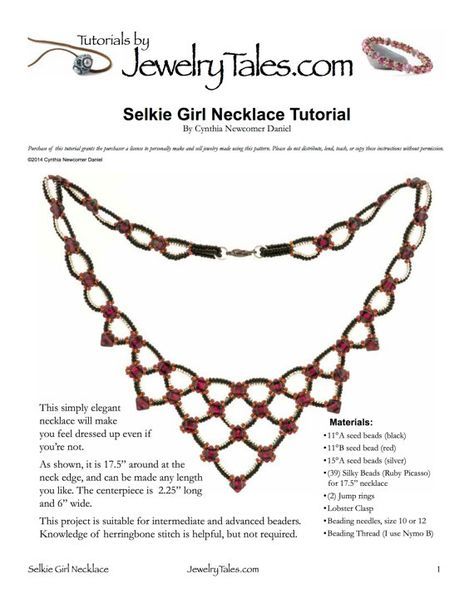 Seed Bead and Silky Bead Necklace Tutorial Selkie by JewelryTales