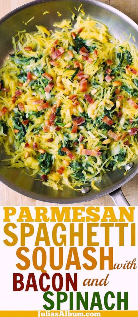 Low Carb Recipes To The Prism Weight Reduction Program Parmesan Spaghetti Squash With Spinach, Bacon, Pine Nuts Spinach Recipes, Vegetable Recipes, Diet Recipes, Cooking Recipes, Healthy Recipes, Easy Cooking, Spaghetti Squash Casserole, Baked Spaghetti Squash, Spaghetti Spinach