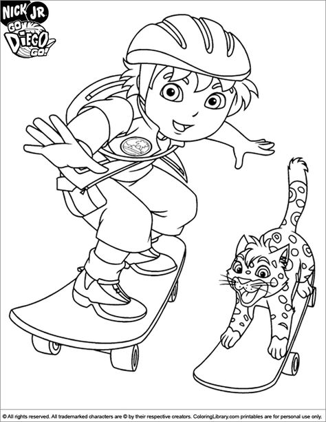Go Diego Go Coloring Page Coloring Pages Cartoon Coloring Pages