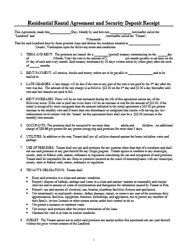 Residential Rental Agreement And Security Deposit Receipt - vacation rental agreement