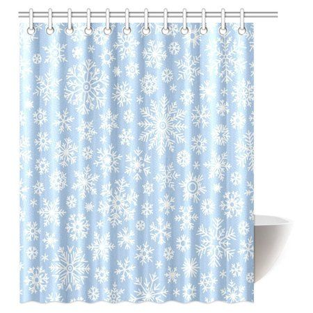 Mypop Christmas Shower Curtain Snowflake Vintage Country Style