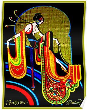 Psychedelic //Art Deco 1920/'s Flapper Poster//Reproduction