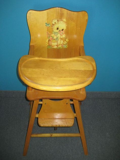 Vintage wooden high chair pretty much identical to the one my brother had in 1957 Wooden High Chairs, Vintage High Chairs, Metal Chairs, Arm Chairs, Modern Chairs, Accent Chairs, Dining Chairs, Novelty Items, My Childhood Memories