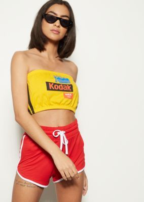 Yellow Kodak Super Cropped Graphic Tube Top | Summer