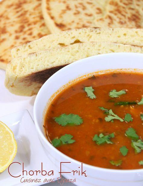 Chorba frik soupe traditionnelle algérienne au blé concassé,