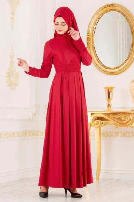 Nayla Collection Dantel Detayli Kirmizi Tesettur Elbise