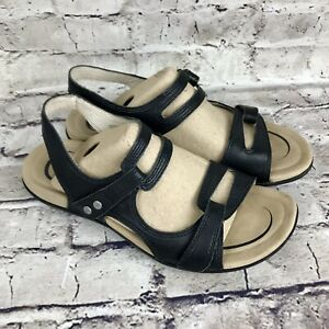 Abeo Womens Leather Sandals Crescent Black Size 10 M Neutral Foot Bed Euc Ebay Leather Sandals Women Leather Sandals Black Leather Sandals