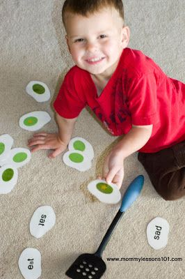 Flip green eggs and ham...and write in words on the back so kids can play a phonics and vocabulary game!