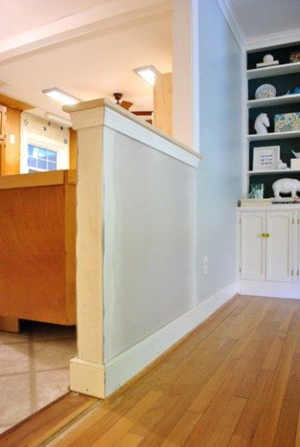 How To Trim Out A Cased Opening And A Half Wall Young House Love Half Wall Kitchen Half Walls Half Wall Room Divider