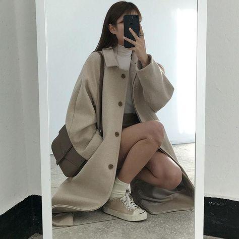 Aesthetic Clothing Retro - Office Style Chic Cream Long Coat