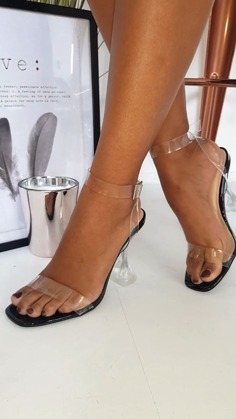 Barely There Perspex Statement Heels in Black pat