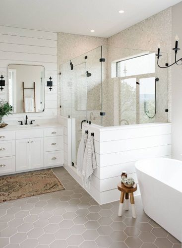 Come join us for a look at modern farmhouse bathroom shiplap ideas. These ideas are sure to inspire you to use shiplap in your bath. It doesn& matter if you need a rustic or a glam look, because shiplap does it all! Diy Bathroom Remodel, Bathroom Renos, White Bathroom, Bathroom Flooring, Master Bathrooms, Bathroom Renovations, Bathroom Mirrors, Bathroom Cabinets, Decorating Bathrooms