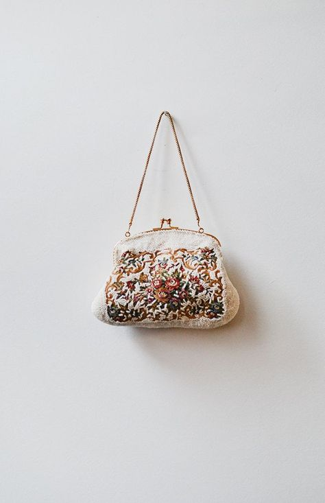 Flowers Will Bloom Purse / vintage 50s purse / 1950s beaded bag