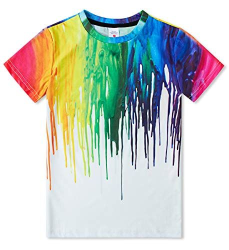 Belovecol Boys Girls 3D T-Shirt Cool Crewneck Short Sleeve Graphic T Shirt Summer Tee Shirts for Kids Teens 6-14 Years