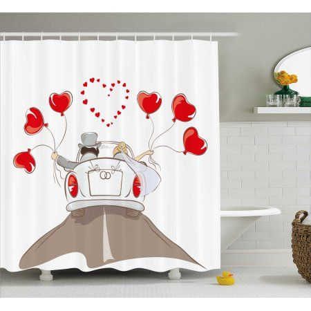 Wedding Decorations Shower Curtain Newlywed Couple In Vintage Car With Heart Shaped Balloons Drawing Fabric Bathro Bathroom Sets Printed Shower Curtain Decor