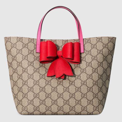 Children s GG Supreme bow tote - Gucci Children s Gifts 457232K6RTN8279 b716c1fb845e2