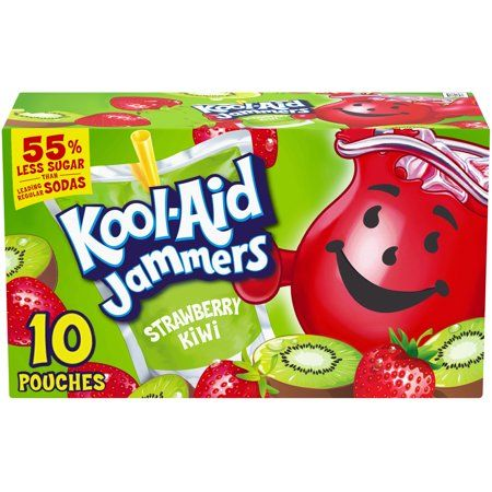 Kool Aid Jammers Strawberry Kiwi Artificially Flavored Drink 10 Ct Box Walmart Com Flavored Drinks Kool Aid Fruit Flavored Drinks