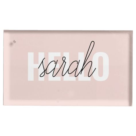 Modern Pastel Pink Hello And You Name Place Card Holder - tap/click to get yours right now! #PlaceCardHolder #minimalist #monogram #simple #fashion, #anniversarygift